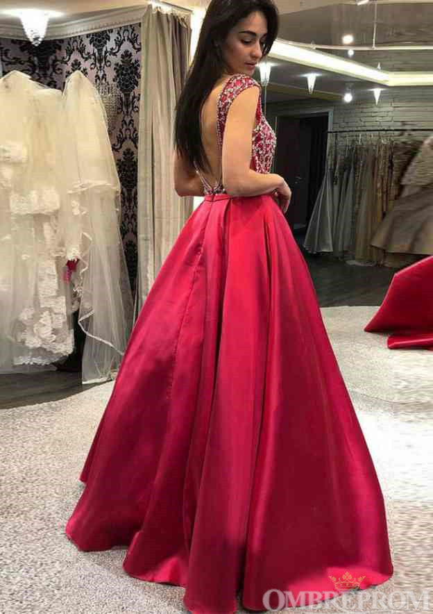 Unique V Neck Sleeveless Satin A Line Prom Dress with Beading D22