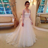 Charming V Neck Long Sleeves Sweep Train Lace Wedding Dresses W571