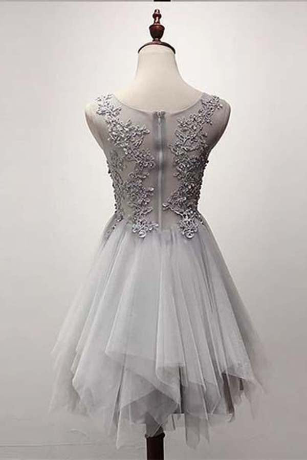 Elegant Round Neck A-Line Knee Length Lace With Applique Homecoming Dresses M459