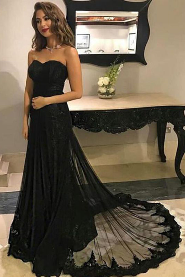 Chic Black Lace Sweethreart Strapless Sweep Train Long Prom Dress P853