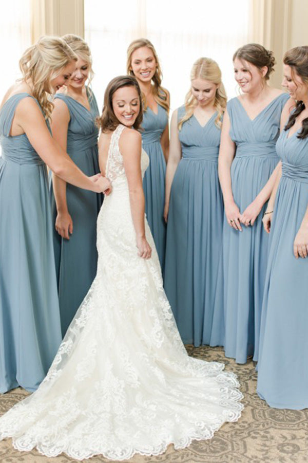 V Neck A Line Bridesmaid Dress with Pleats B521
