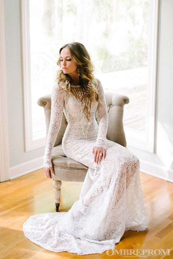 V Neck Long Sleeves Lace Bridal Gown Backless Long Wedding Dresses W623