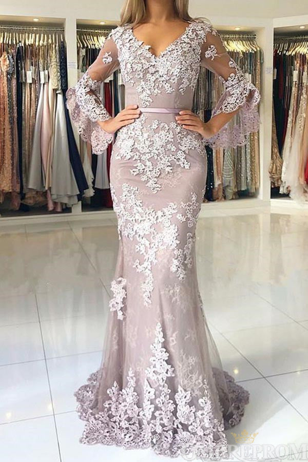 V Neck Long Sleeves Lace Floor Length Mermaid Prom Dress with Appliques D56