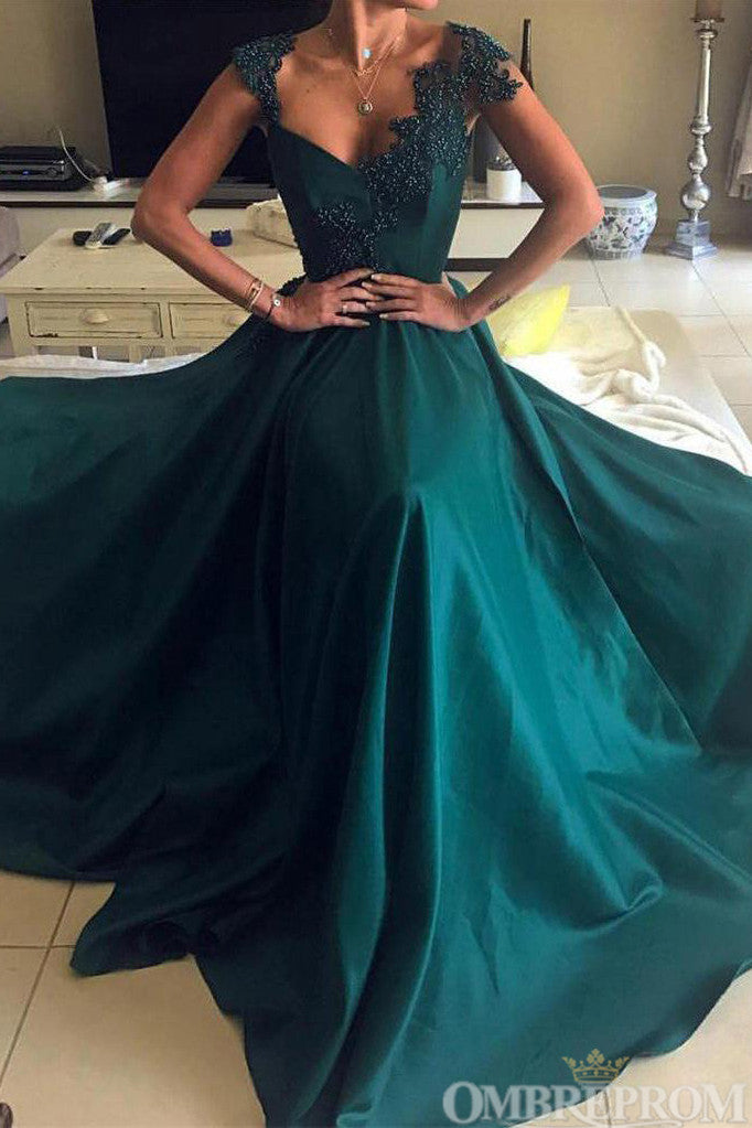 V Neck Low Back Satin A Line Lace Prom Dress with Appliques D147