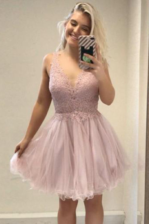 Cheap V Neck Backless Lace Tulle Homecoming Dress M536