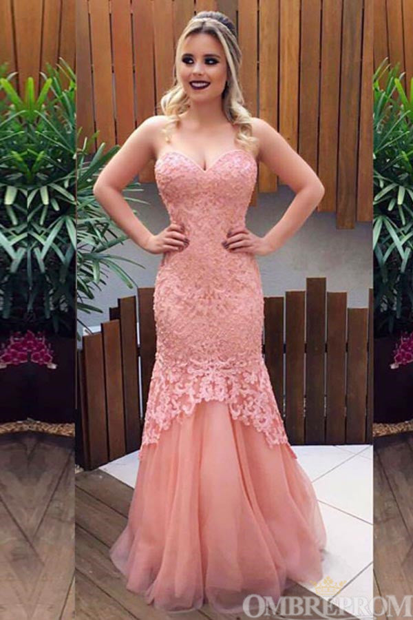 Vintage Pink Sweetheart Strapless Tulle Lace Mermaid Prom Dress D55
