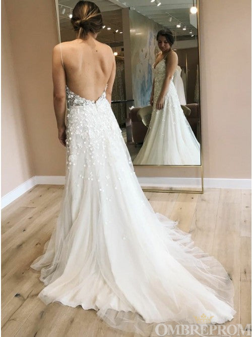 Vintage Spaghetti Straps Backless Wedding Dress with Appliques W661