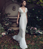 Charming Short Sleeves V-neck Open Back Long Lace Beach Wedding Dresses W0013