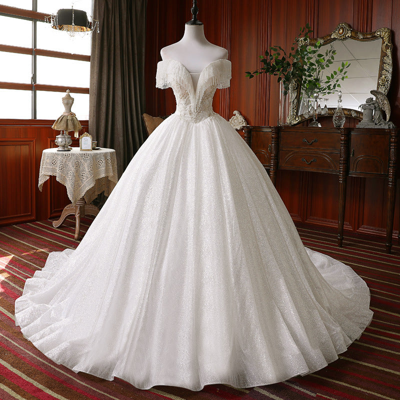Pretty Sequin Shiny Ball Gown Modest Long Wedding Dresses Bridal Gowns W0020