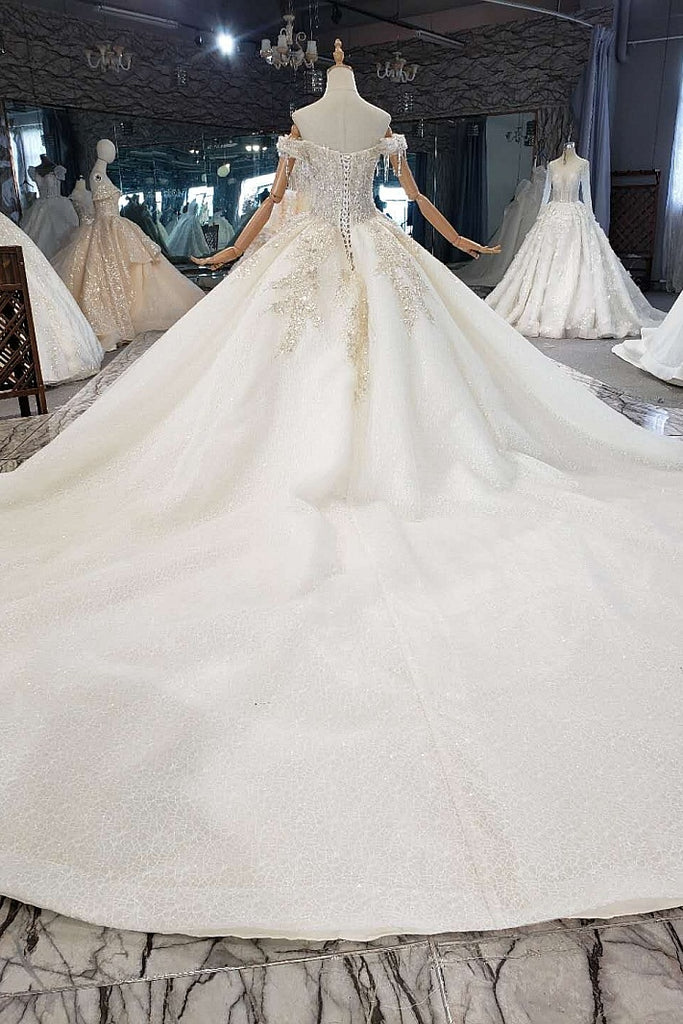 New Arrical Long Off The Shoulder Ball Gown Lace Wedding Dresses W0022