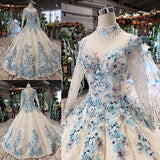 Newest Long Sleeves Ball Gown Wedding Dresses With Appliques W00251