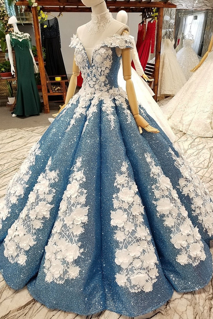 Glitter Blue Off The Shoulder Lace Up Long Ball Gown Wedding Dresses Princess Dress W0027