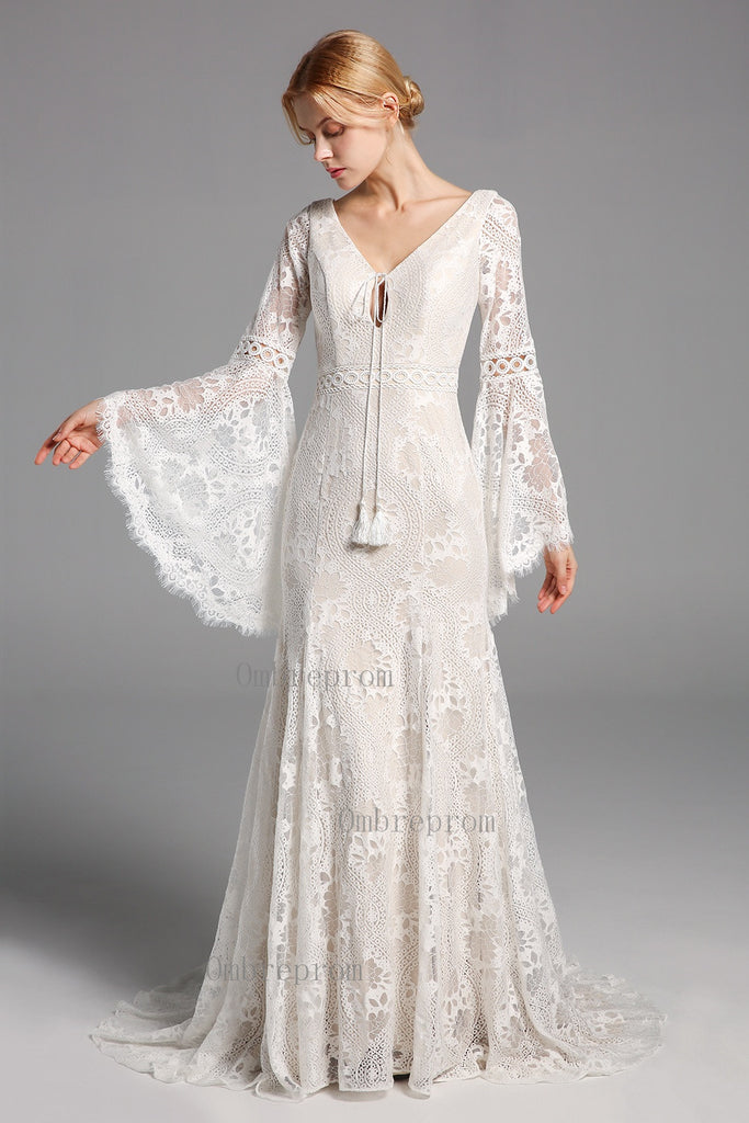 Chic Elegant Boho Lace Long Beach Wedding Dresses With Sleeves W0028