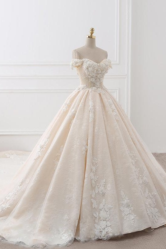 Gorgeous Off The Shouder Ball Gown Long Wedding Dresses Bridal Dress W0050