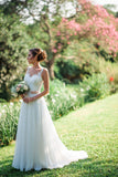 A Line Sweetheart Beach Wedding Gowns,Layers Tulle Floral Cheap Wedding Dress W100 - Ombreprom