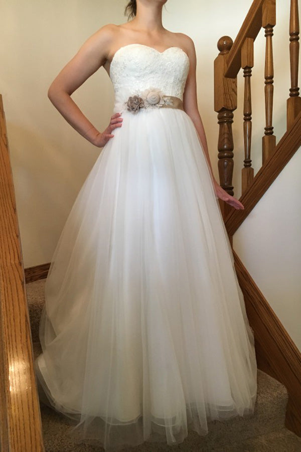 Sweetheart Strapless Open Back Beach Wedding Gowns,Sweep Train Cheap Wedding Dress W103 - Ombreprom