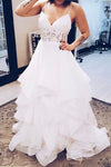 Sweetheart Spaghetti Cheap Wedding Gowns,Open Back Ruffles Beach Wedding Dress