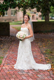 Sweetheart Strapless Cheap Wedding Gowns,Sweep Train Lace Up Appliques Beach Wedding Dress