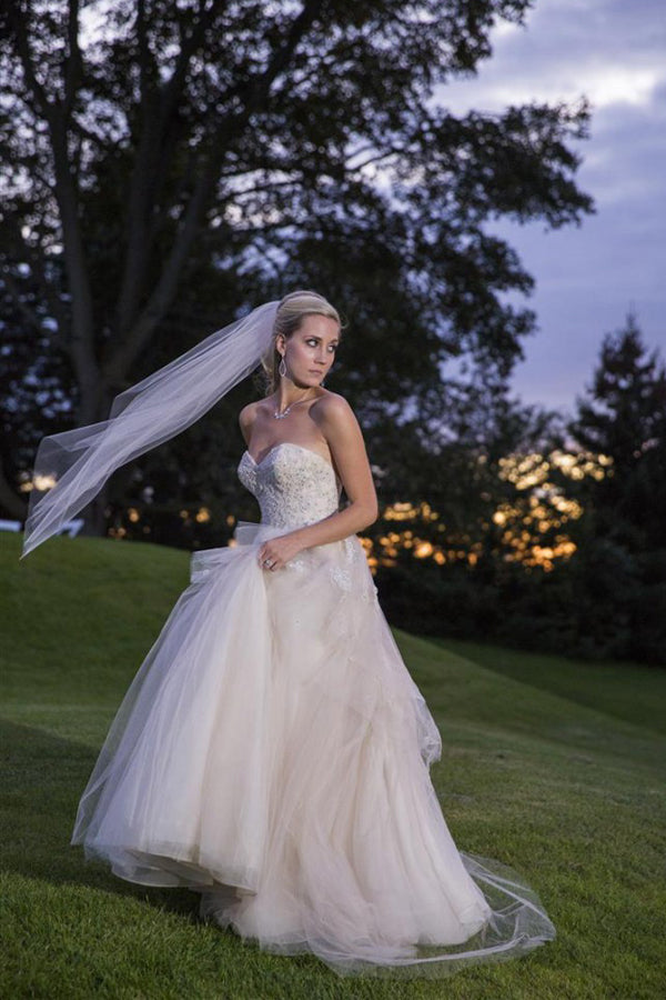 Sweetheart Strapless Layers Tulle Cheap Wedding Gowns,A Line Beading Beach Wedding Dress