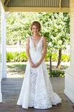 Deep V Neck Beach Wedding Gowns,Sweep Train Appliques Cheap Wedding Dress W111 - Ombreprom