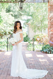 Capped Sleeve Wedding Gown,Sweep Train Sheer Back Appliques Cheap Wedding Dress W115 - Ombreprom