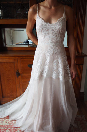Sweetheart Spaghetti Cheap Wedding Gown,Open Back Appliques Sheer Wedding Dress