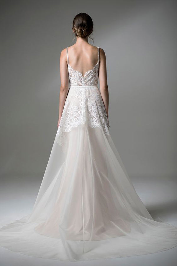 Sweetheart Spaghetti Cheap Wedding Gown,Open Back Appliques Sheer Wedding Dress W117 - Ombreprom