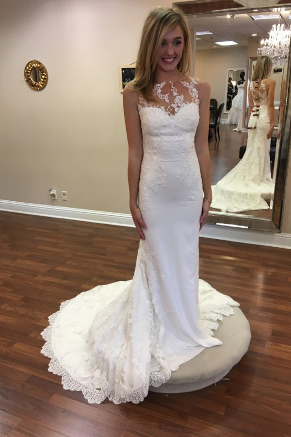 Sheer Sleeveless Sweep Train Wedding Gown,Appliques Cheap Wedding Dress