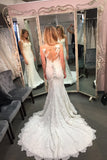 Sheer Sleeveless Sweep Train Wedding Gown,Appliques Cheap Wedding Dress SW124 - Ombreprom
