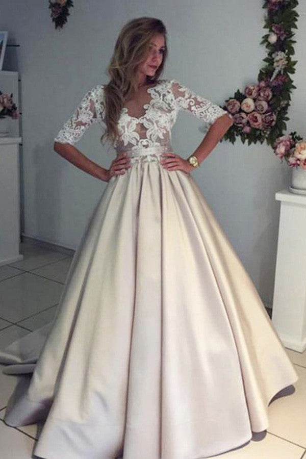 Charming Half Sleeves With Lace Appliques Beach Wedding Dresses W343 - Ombreprom