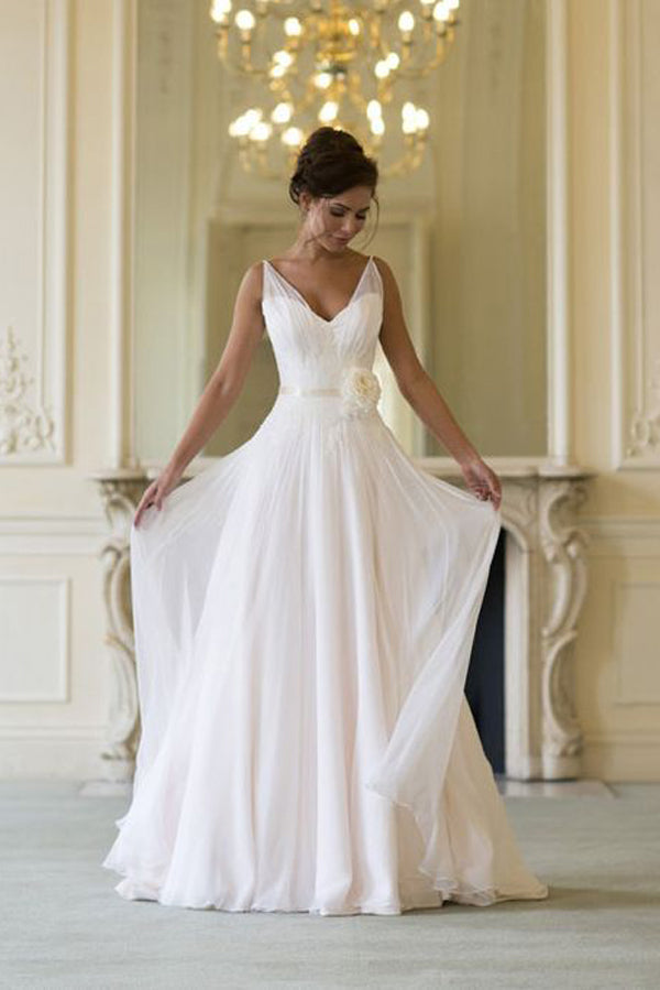 Deep V Neck Sleeveless Cheap Wedding Gowns,A Line Floor Length Beach Wedding Dress