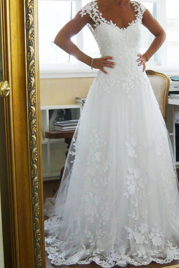 Capped Sleeve Open Back Cheap Wedding Gowns,Lace Appliques Beach Wedding Dress W91