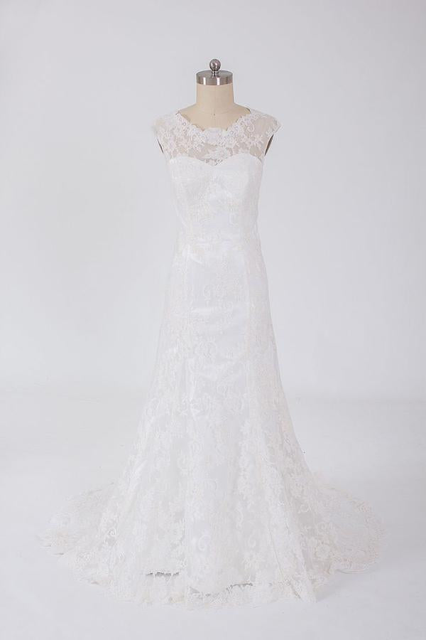 Sheer Lace Up Appliques Cheap Wedding Gowns,Simple A Line Beach Wedding Dress W92 - Ombreprom