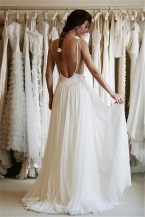 Sweetheart Spaghetti Appliques Cheap Wedding Gowns,Backless Beach Wedding Dress
