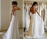 Sweetheart Spaghetti Appliques Cheap Wedding Gowns,Backless Beach Wedding Dress W93 - Ombreprom