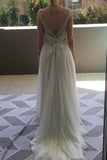 Sleeveless Deep V Neck Beach Wedding Gowns,Sequins Beading Cheap Wedding Dress W99