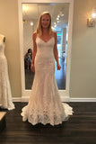 Sweetheart Spaghetti Sweep Train Beach Wedding Gowns,Lace Up Appliques Cheap Wedding Dress