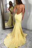 Elegant Simple Mermaid Yellow Backless Long Prom Dresses Party Dress M1016