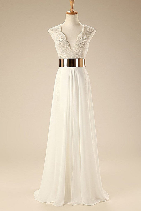 Deep V Neck Cap Sleeves White Chiffon Gold Belt Summer Beach Wedding Dress OM564 - Ombreprom