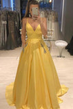 Yellow Spaghetti Straps A Line V Neck Prom Dress D382