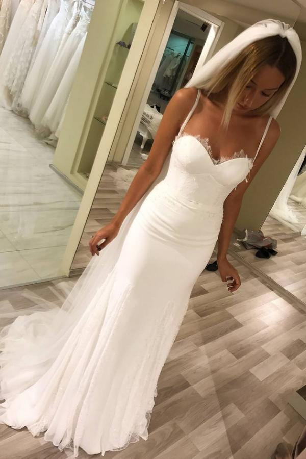 Simple Spaghetti Straps Sweetheart Sheath Long Mermaid Wedding Dresses W498