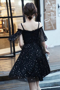 Charming Black Short Modest Cocktail Dresses Homecoming Dresses M820