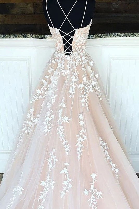 Hottest Elegant Spaghetti Straps Backless Lace Long Princess Prom Dresses For Teens D434