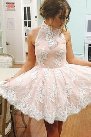 Pink Halter Sleeveless Homecoming Dress,Appliques Keyhole Back Short/Mini Prom Dress