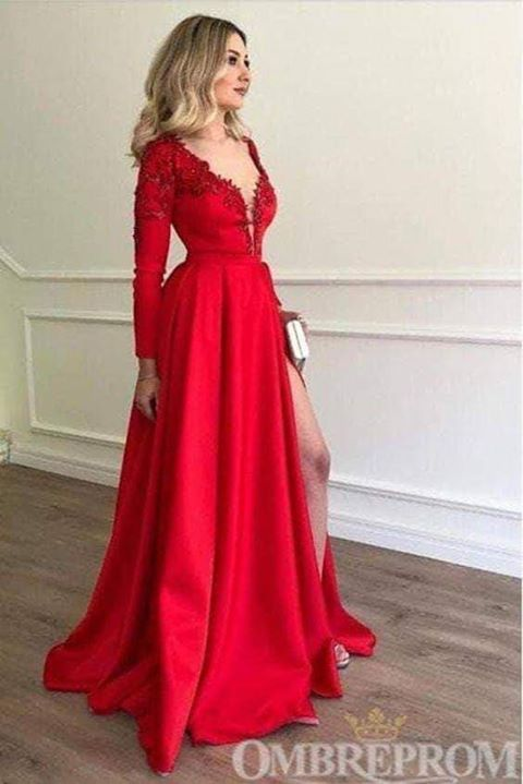 Beautiful Long Sleeves V-neck Front Split Long Red Modest Prom Dresses M821