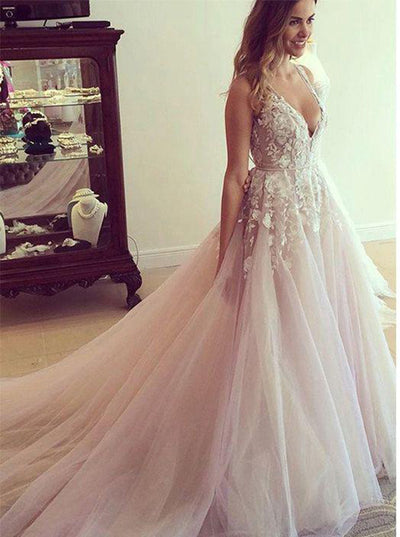 Chic flower appliqued light pink wedding dresses with chapel train chic flower appliqued light pink wedding dresses with chapel train bridal gown w305 ombreprom junglespirit Choice Image