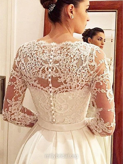 Gorgeous Long Sleeves V Neck Satin Lace Court Train Wedding Dress W540