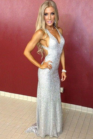 Stunning Sleeveless V Neck Mermaid Prom Dresses with Sequins P947