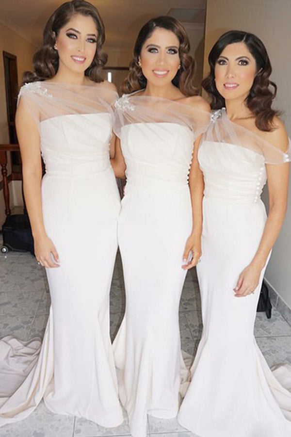 Simple One Shoulder Court Train Mermaid Bridesmaid Dress Wedding Party Dress B461