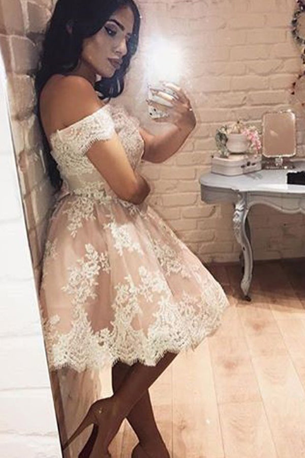 Pink A-Line Sleeveless Off-the-Shoulder Knee-Length Homecoming Dresses with Lace
